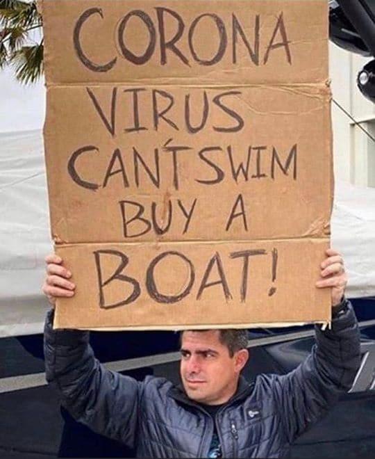 compra una barca il corona virus non sa nuotare
