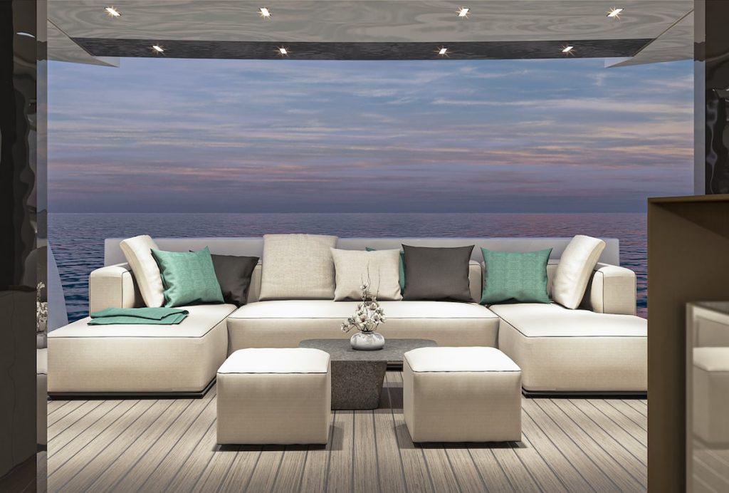 Arcadia Yachts stern sofa